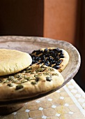 Moroccan flatbread with and without olives