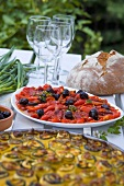 Baked peppers with olives and courgette bake