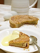 Bakewell pudding (almond pudding, England) with custard