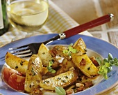 Potatoes with marjoram and diced bacon