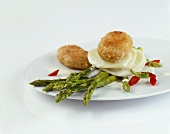 Breaded veal balls with asparagus and turnip (Austria)