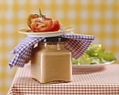 Red pepper mousse in a jar