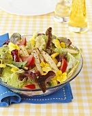 Summer salad with fried baby corn