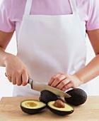 Halving an avocado