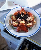 Lobster with black rice and squid