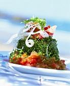 Herb-coated beef sirloin on tomato salsa