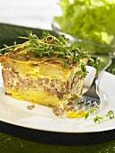 Jägerauflauf (Mince and potato bake) with herbs
