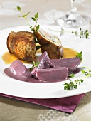 Red wine potatoes with pork fillet