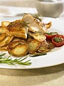 Provençal fried potatoes with fried guinea fowl breast