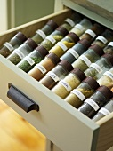 Spice jars in a drawer