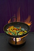 Stir-frying vegetables