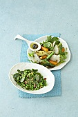 Pea and bacon salad, carrot and turnip salad
