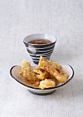 Banana fritters with honey sauce and Taiwanese spiced tea