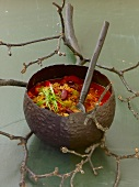 Fiery witches' brew with minced beef, red kidney beans, ramsons
