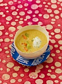 Chick-pea soup with soft cheese dumpling