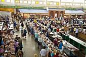 Various types of meat on market stalls in Ukraine
