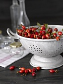 Rose hips in metal colander in front of tea towel & jars