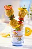 Deep-fried fish balls on skewers