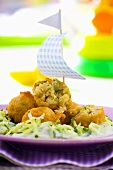 Deep-fried fish balls with cucumber salad for children