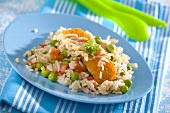 Fish fingers on vegetable rice