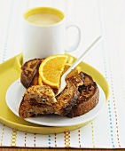 Pain perdu (French toast) with orange