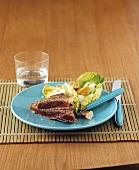Seared tuna steak with Caesar salad