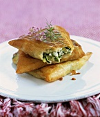 Brik pastry with courgette and feta filling