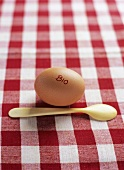 An organic egg with spoon