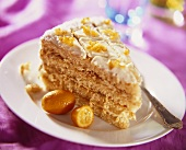 A piece of sponge cake with kumquats