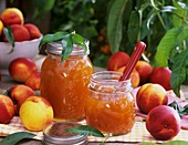Nectarine jam and fresh nectarines