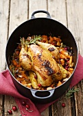 Braised corn-fed chicken with sweet potatoes & cranberries