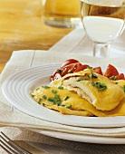 Truffle scrambled egg with tomato salad