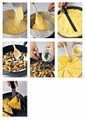 Making grilled polenta slices with mushrooms