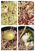 Making risotto with radicchio and fennel