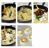 Making risotto with dried tomatoes, rocket & goat's cheese