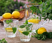 Mineral water with lemon balm and slices of lemon