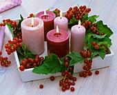 Kerzendekoration mit roten Johannisbeeren