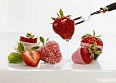 Iced and glazed strawberries