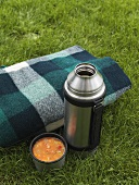 Thermos flask of vegetable soup beside blanket on grass