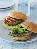 Tuna burger and pork burger