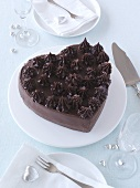 Heart-shaped chocolate cake