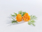 Flowers carved from carrots