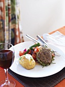 Beef steak with balsamic vinegar and rosemary