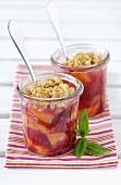 Raspberry and peach crisp