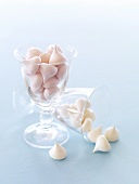 Delicate meringues in a glass