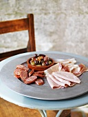 Cold cuts with marinated olives
