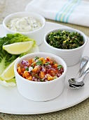 Papaya and onion salsa, herbs with capers and herb quark