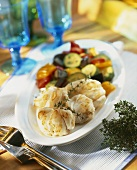 Fried monkfish with vegetables