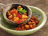 Sausage and potato goulash (close-up)