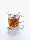 Lemon grass tea in a glass cup